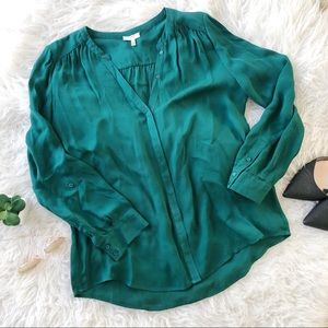 Emerald Green Silk Blouse